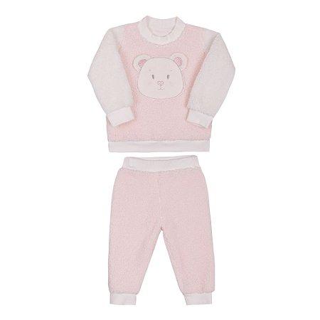 Conjunto Bebê Menina com Blusa e Calça de Pelo Rosa Paraíso