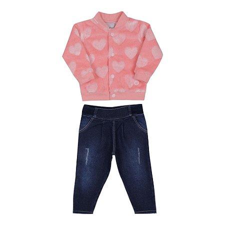 Conjunto Bebê Menina com Jaqueta Rosa Coral e Calça Jeans Paraíso