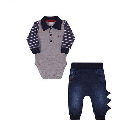 Conjunto Bebê Menino com Body Mescla e Calça Jeans Paraíso