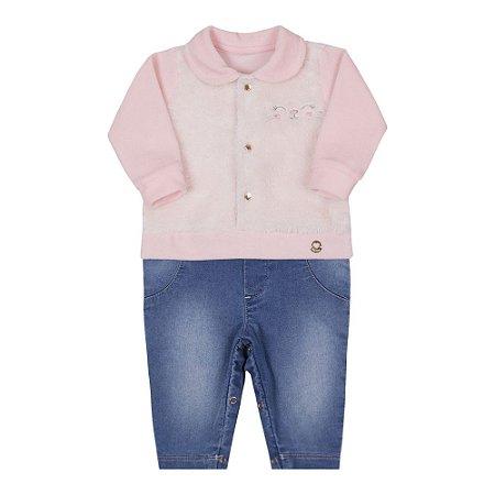 Macacão Bebê Menina em Plush com Pelo e Jeans Rosa Pastel Paraíso
