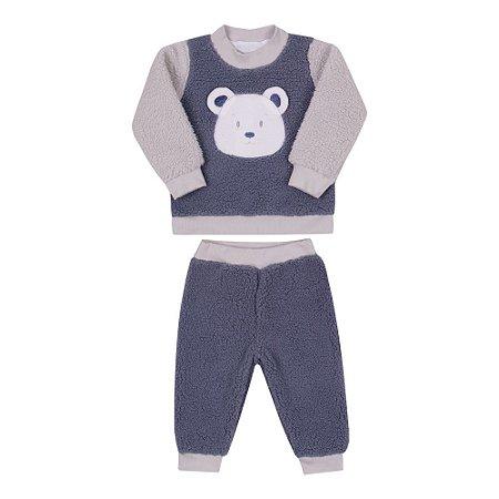 Conjunto Bebê Menino com Blusa e Calça de Pelo Azul Denim Paraíso