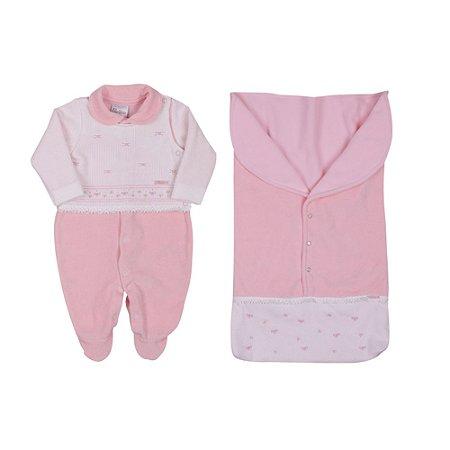 Saída de Maternidade Menina em Plush com Malha e Saco de Dormir Rosa Paraíso