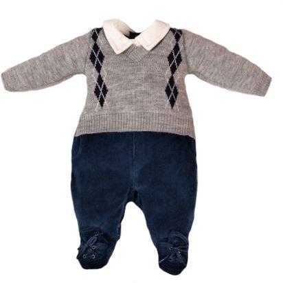 Macacão Bebê Menino Sueter em Tricot e Plush Lessa Kids