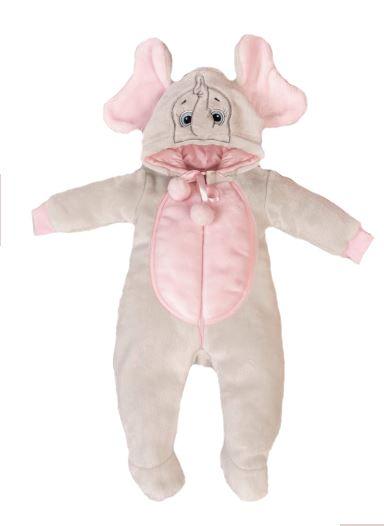 Macacão Bebê Menina Elefante Plush Rosa Lessa Kids