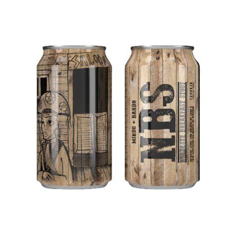 Cerveja MinduBier + Bardo NBS Nordeste Breakfast Stout 2021 Imperial Stout C/ Melado de Cana e Café Bourbon Barrel Aged Lata - 350ml