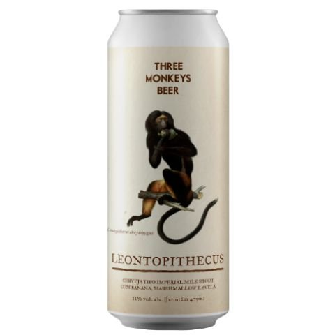 Cerveja Three Monkeys Leontopithecus Imperial Milk Stout C/ Banana, Marshmallow e Avelã Lata - 473ml