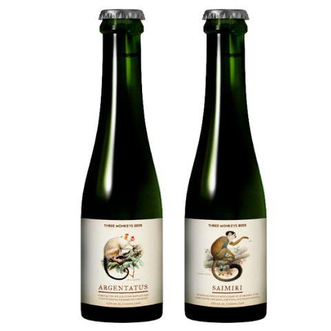 Kit Cerveja + Hidromel Three Monkeys Rare Monkeys Collection  Rare Mix (Argentatus + Saimiri) 2 garrafas - 375ml