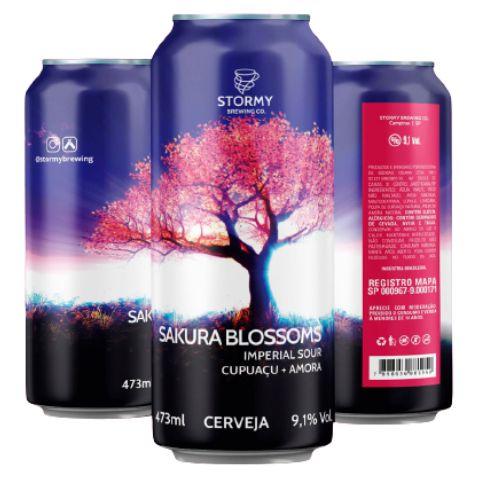 Cerveja Stormy Brewing Co Sakura Blossoms Imperial Sour C/ Cupuaçu e Amora Lata - 473ml