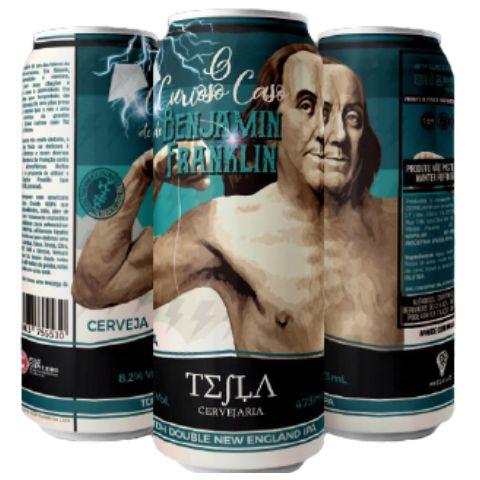 Cerveja Tesla O Curioso Caso de Benjamin Franklin TDH Double New England IPA Lata - 473ml