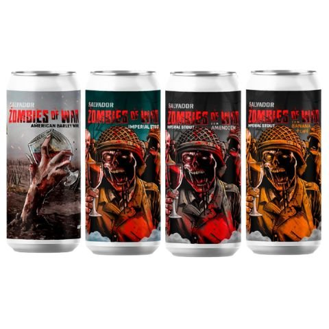 4-Pack Cerveja Salvador Brewing Co Zombies Of War (American Barley Wine + Imperial Stout + Imperial Stout C/ Amendoim + Imperial Stout C/ Banana e Café) 4 latas - 473ml