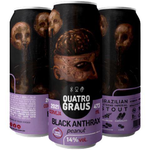 Cerveja Quatro Graus Black Anthrax Peanut Brazilian Extreme Stout C/ Amendoim Lata - 473ml