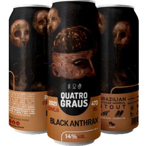 Cerveja Quatro Graus Black Anthrax 2021 Brazilian Extreme Stout C/ Café, Baunilha e Carvalho Lata - 473ml