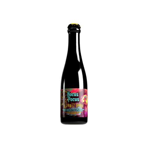 Cerveja Hocus Pocus Rabbit Hole Imperial Pastry Stout C/ Chocolate, Coco Torrado e Nozes Negras - 375ml