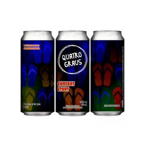 Cerveja Quatro Graus Comfort Stout Imperial Stout C/ Cacau e Café Lata - 473ml