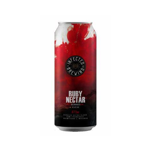Cerveja Infected Brewing Ruby Nectar Kveik New England IPA C/ Morango, Framboesa e Grumixama Lata - 473ml