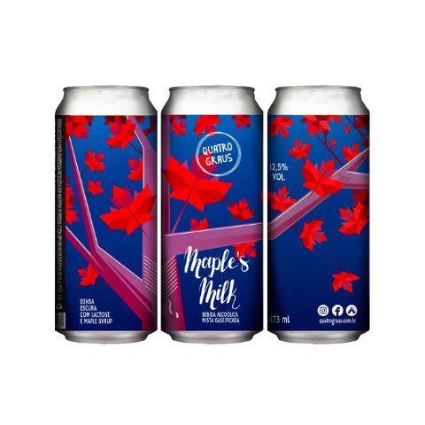 Cerveja Quatro Graus Maple's Milk Russian Imperial Stout C/ Maple e Lactose Lata - 473ml