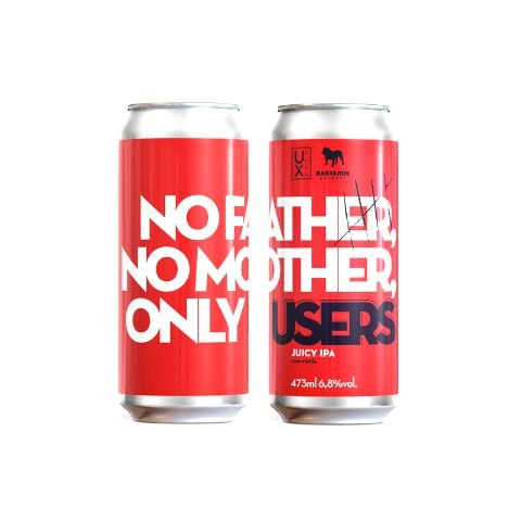 Cerveja UX Brew + Bastards Brewery No Father, No Mother, Only Users Juicy IPA C/ Mirtilo Lata - 473ml