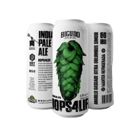 Cerveja Bicudo Brewing Hops 4 Life American IPA Lata - 473ml