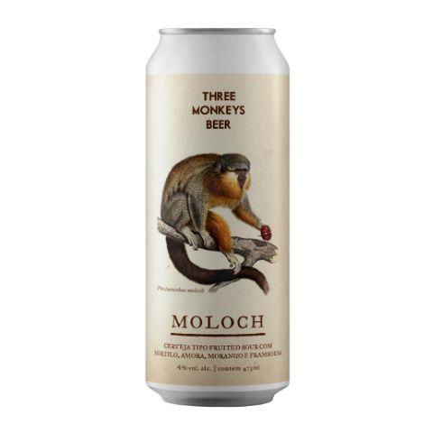 Cerveja Three Monkeys Moloch Fruited Sour Ale C/ Mirtilo, Amora, Morango e Framboesa Lata - 473ml