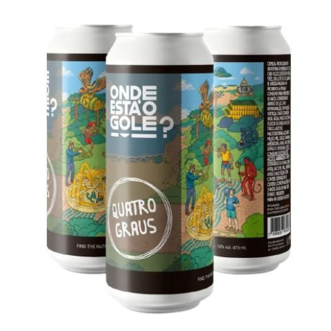 Cerveja Quatro Graus Onde Está O Gole? Find The Nuts Imperial Pastry Stout C/ Cacau, Baunilha, Noz Pecan, Avelã, Amêndoas, Mel e Lactose - Lata - 473ml
