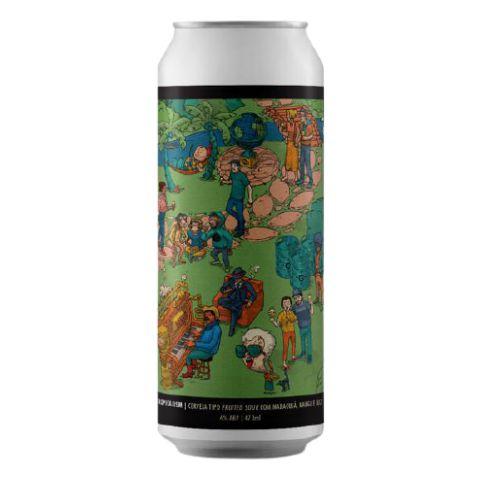 Cerveja Three Monkeys Onde Está O Gole? Tropicalism Fruited Sour C/ Maracujá, Manga e Coco Queimado Lata - 473ml