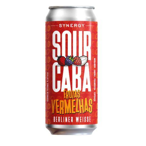 Cerveja Synergy Sourcaba Frutas Vermelhas Berliner Weisse C/ Morango, Amora, Framboesa e Cupuaçu Lata - 473ml