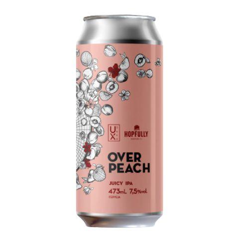 Cerveja Ux Brew + Hopfully Over Peach Juicy IPA C/ Pêssego e Damasco Lata - 473ml