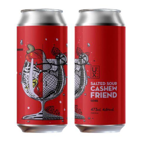 Cerveja UX Brew Salted Sour Cashew Friend Gose C/ Cajú e Limão Lata - 473ml