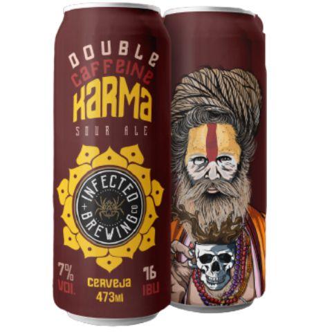 Cerveja Infected Brewing Double Caffeine Karma Imperial Sour C/ Cold Brew, Carvalho, Bourbon e Baunilha Lata - 473ml