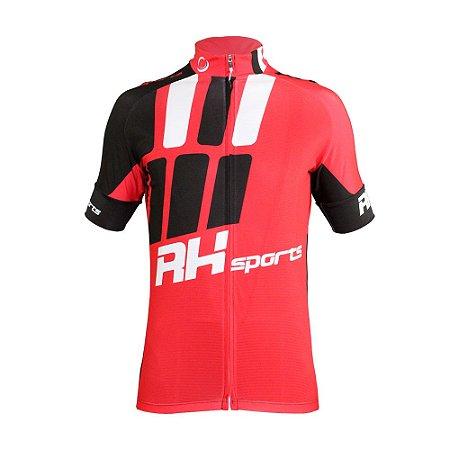 Camisa Ciclismo RH X3 Manga Curta Preto/Vermelho