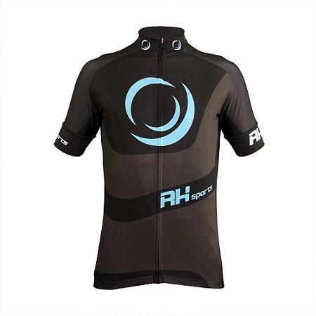 Camisa Ciclismo RH X3 Manga Curta Preto/Cinza
