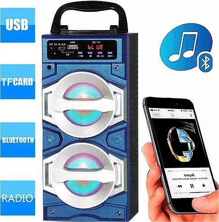 Caixa De Som Portatil Mp3 Entrada Usb Pen Drive Radio + bluo