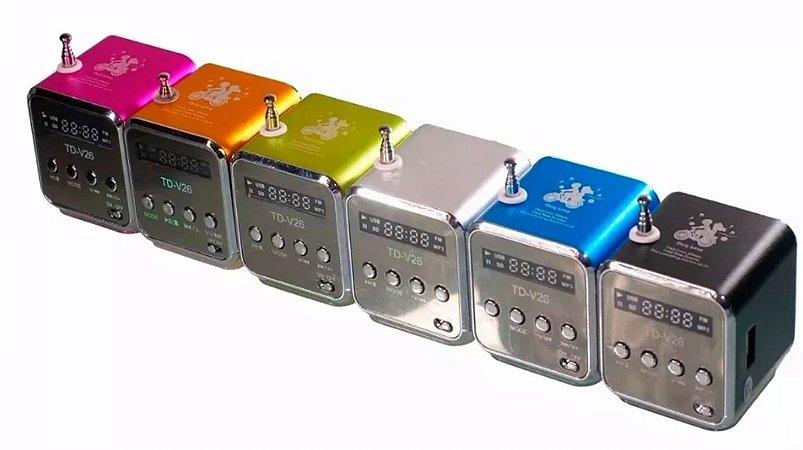 Mini Caixa De Som Led 6w Rádio Fm