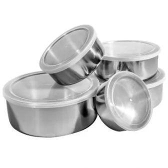 Conjunto De Potes e Tigelas de Aço Inox 5 peças com Tampa Plástica - Home&Garden