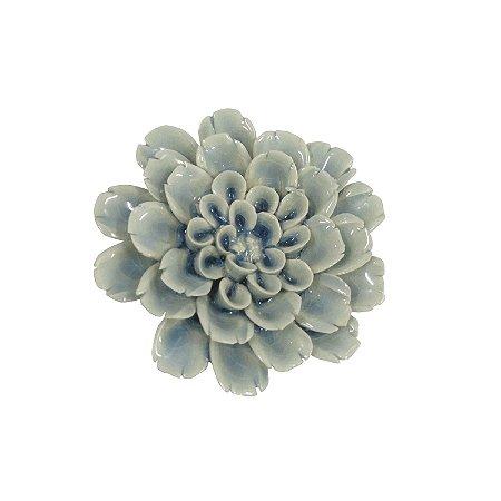 Flor decorativa em cer mica azul claro 7 5cm haus design for Ceramica decorativa pared