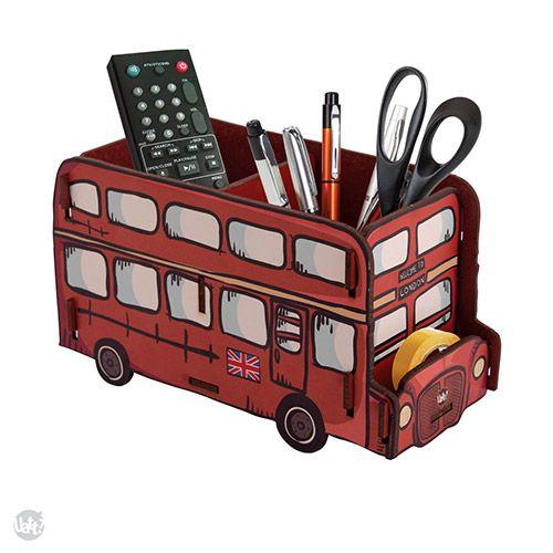 Porta Lápis de Madeira - Ônibus London