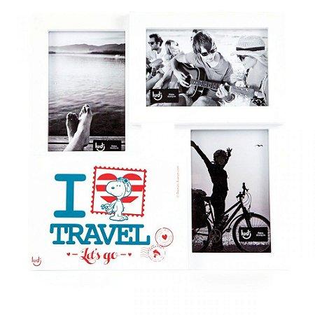 Porta Retrato Triplo Snoopy Viagens