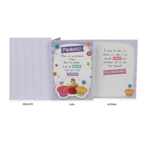 Cartão de Aniversário Cupcakes