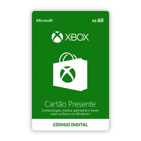 Microsoft Gift Card R$ 60,00 - Xbox Live Brasil