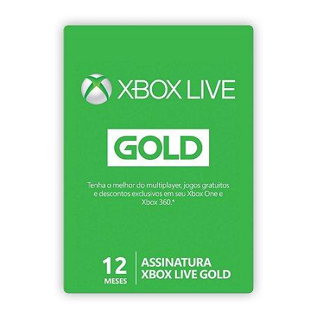 Cartão Xbox Live Gold - 12 Meses