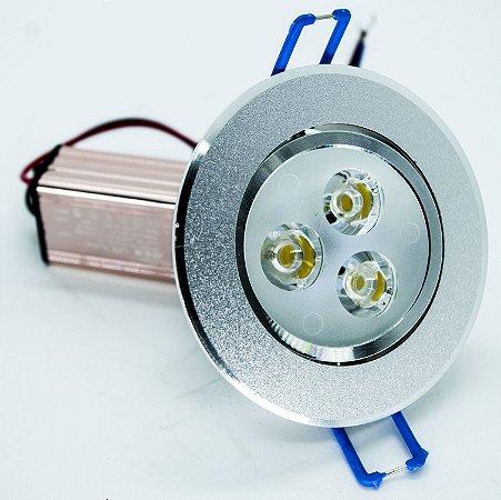 Spot de LED Redondo 3W 3000K 100-240V BIVOLT