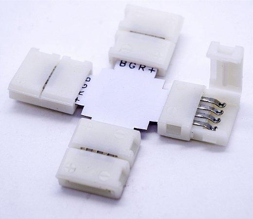 Kit 10 Uni Conector Emenda X Fita Rgb 5050
