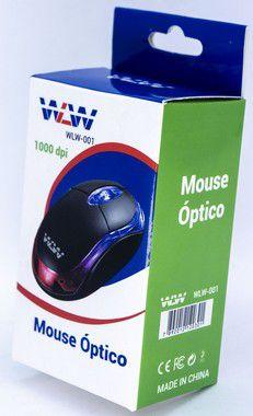 Kit 6un Mouse Usb Hard Line Fm-04 Optico Preto Box WLW-001