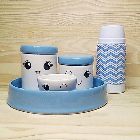 Kit Higiene Olhinhos Abertos com tampa azul + Bandeja azul+Garrafa 250 ml