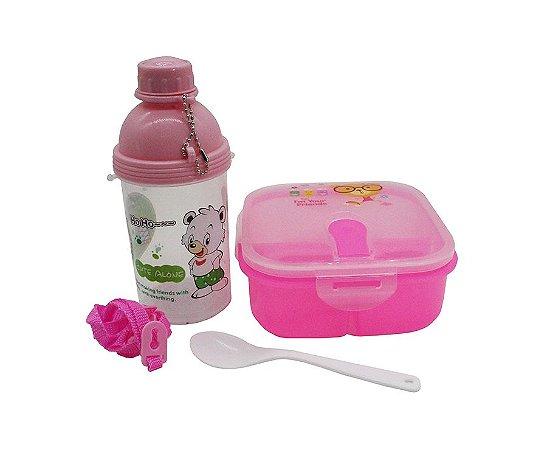 Kit Alimentação Ursinho Rosa