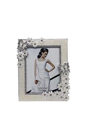 Porta Retrato Perolado Flores 10x15