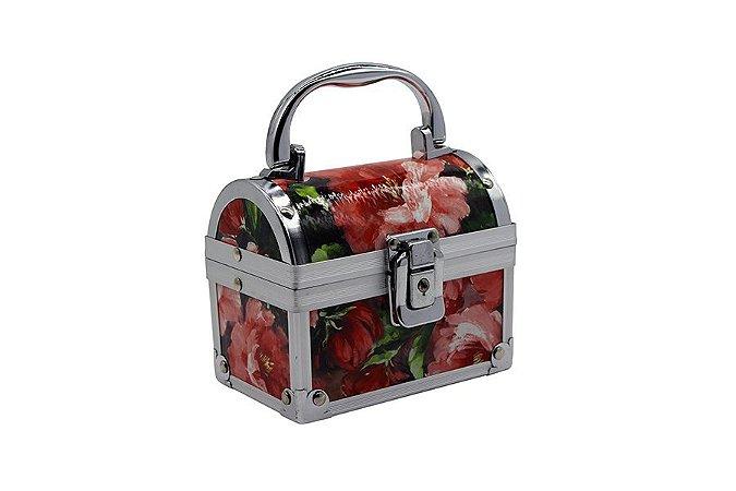 Mini Maleta Porta Joias Rosas Vermelhas