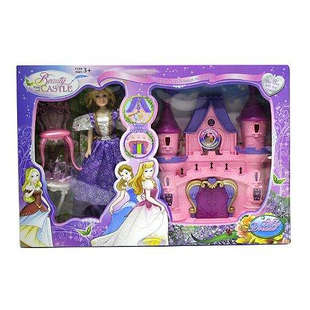 Boneca Princesa c/ Castelo e Acessórios