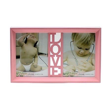 """Porta Retrato Duplo """"Love"""""""