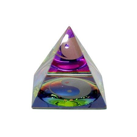 Pirâmide de Cristal Yin Yang 6,5cm